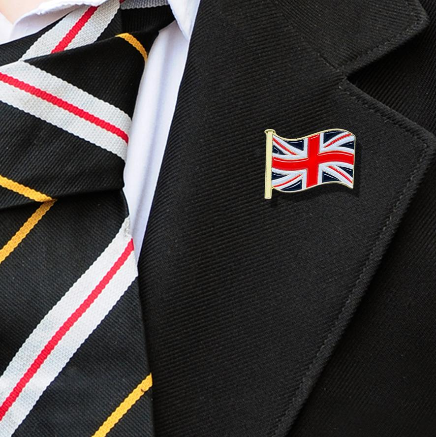 United Kingdom Flag Badge on Lapelle