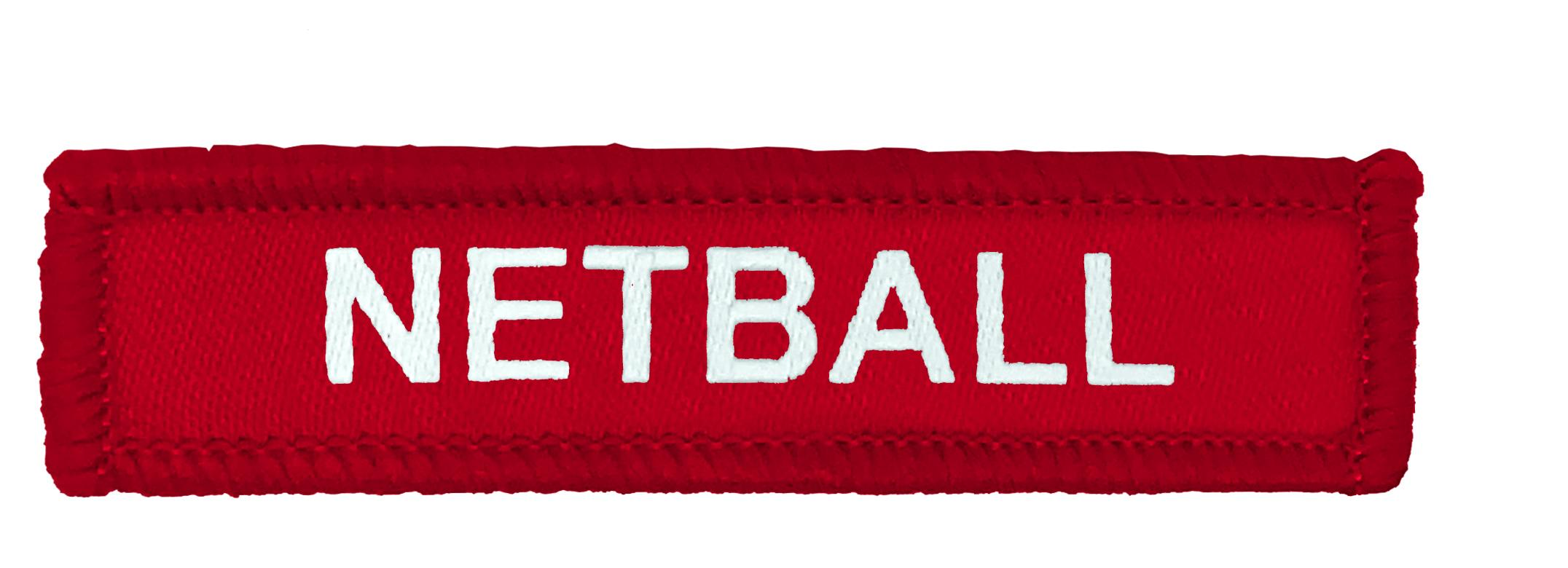 Red Woven Netball Badge