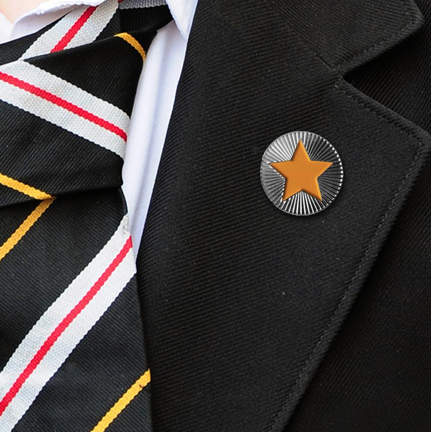 Round on Silver with Orange Star badges