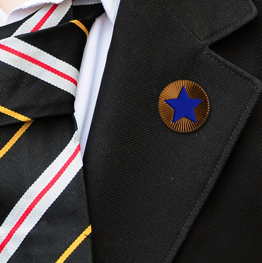 Round on Bronze with Blue Star badges