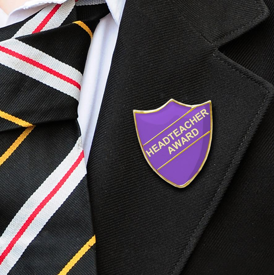 Headteacher award school badge purple