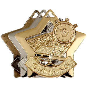 Gold, Silver, Bronze Star Shaped Swimming Badges