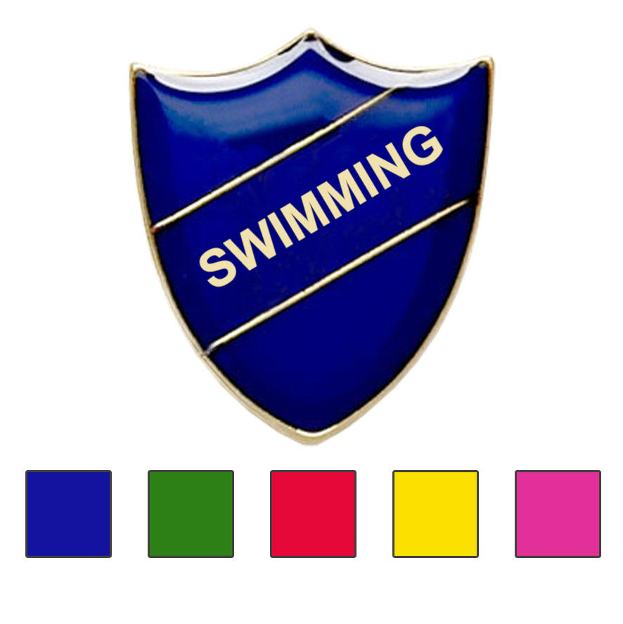 Coloured Shield Shaped Swimming Badges