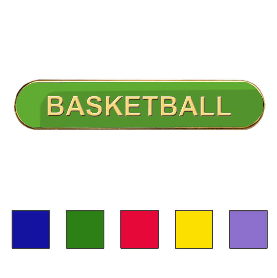 Coloured Bar Shaped Basketball Badges