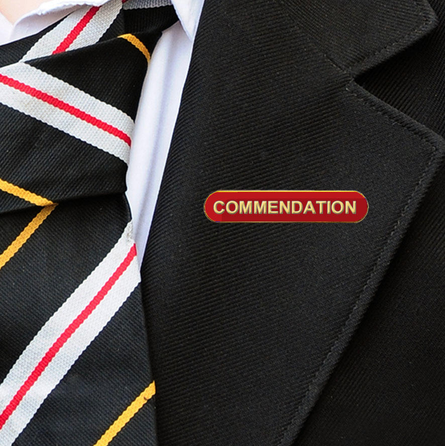 Red Bar Shaped Commendation Badge