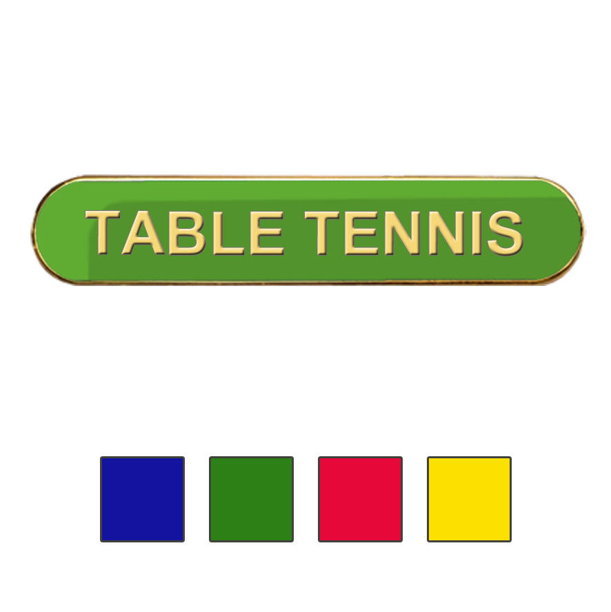 Coloured Bar Shaped Table Tennis Badges