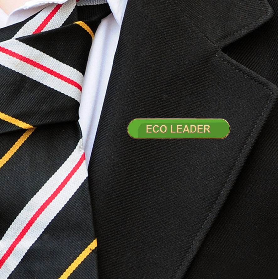 Green Bar Shaped Eco Leader Badge on Lapelle