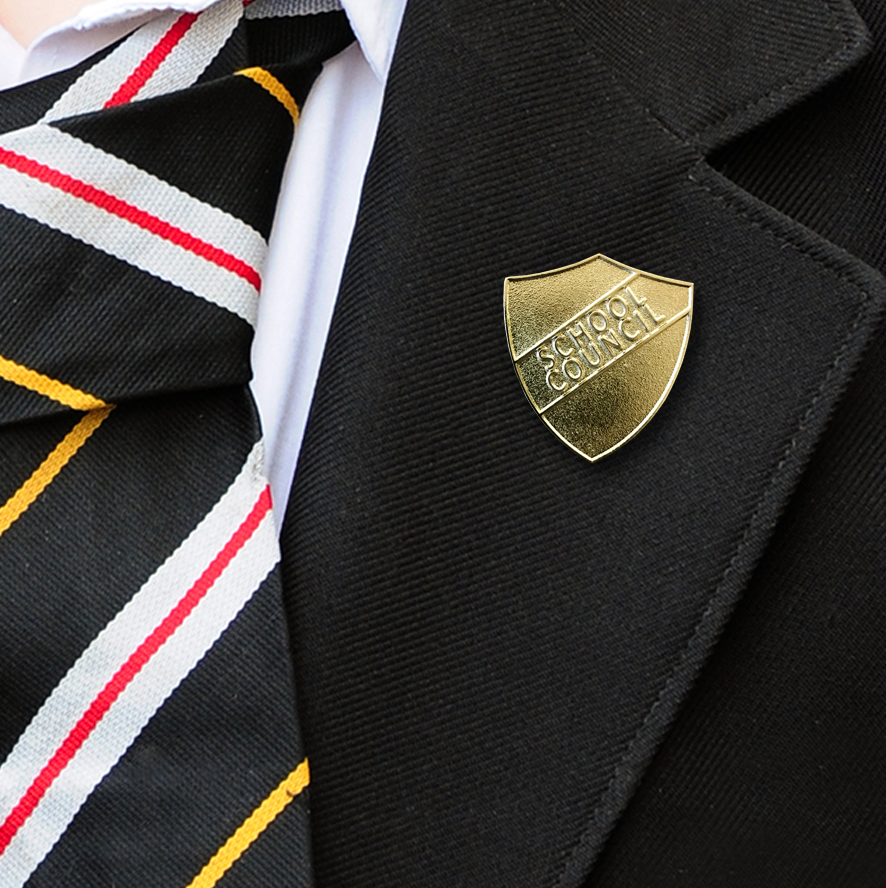 GOLD SCHOOL COUNCIL METAL BADGE