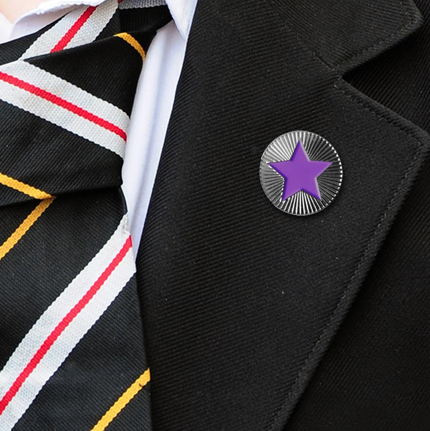 Round on Silver with Purple Star badges