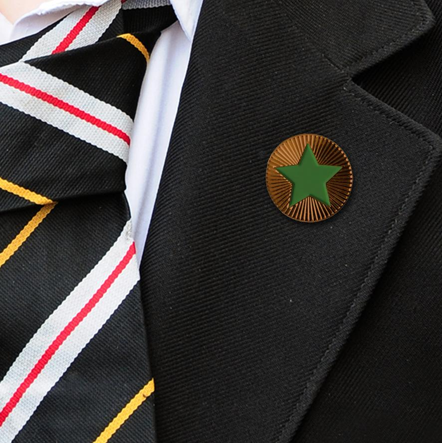 Round on Bronze with Green Star badges