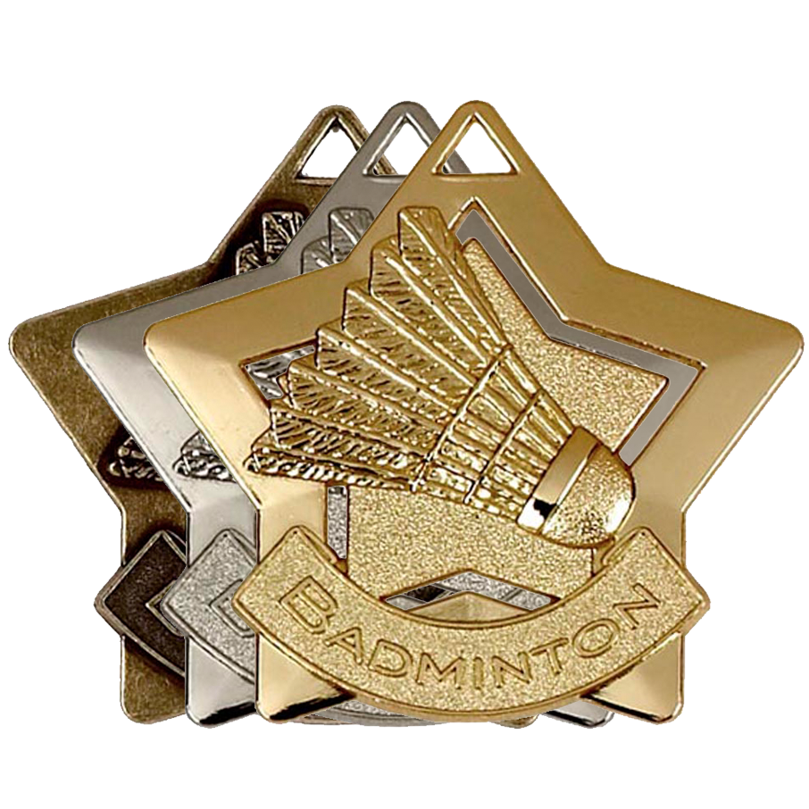 Gold, Silver and Bronze Badminton Star Badges