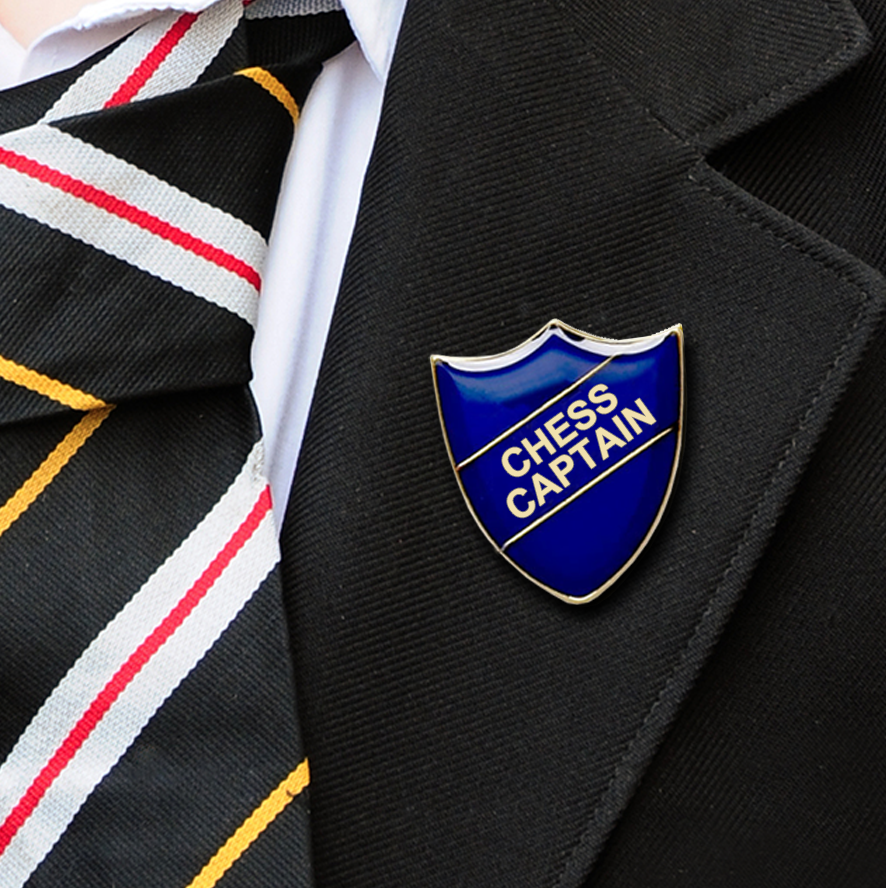 chess captain school badges blue