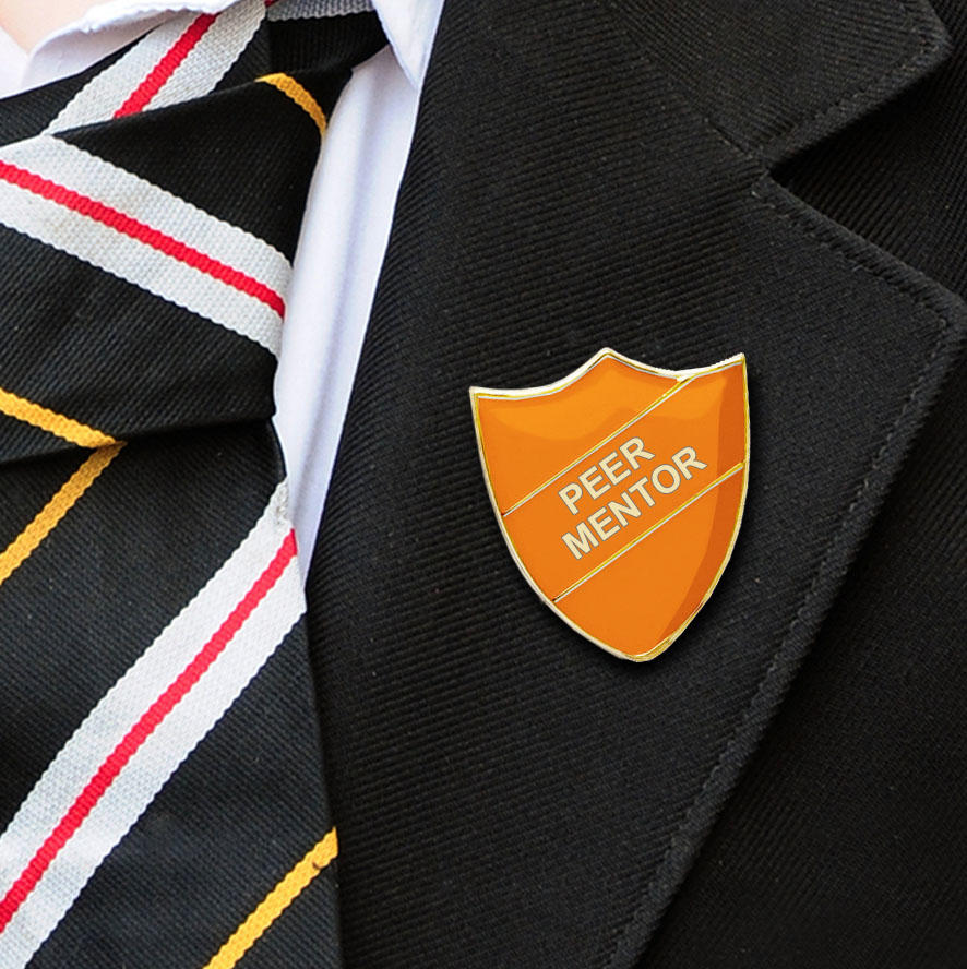Orange Shield Shaped Peer Mentor Badge