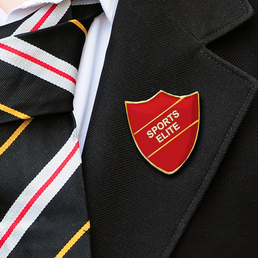 Red Shield Shaped Sports Elite Badge