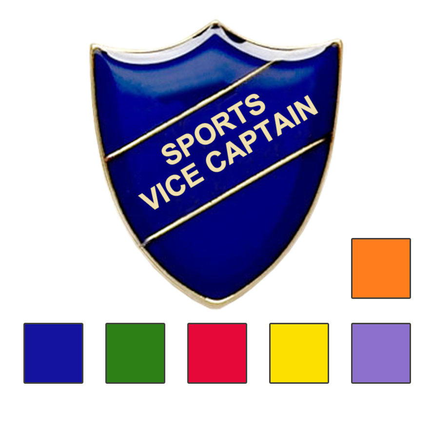 Coloured Shield Shaped Sports Vice Captain Badges