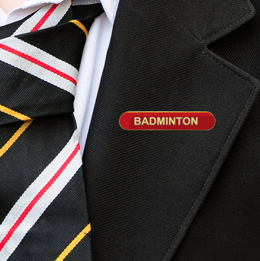 Red Bar Shaped Badminton Badge
