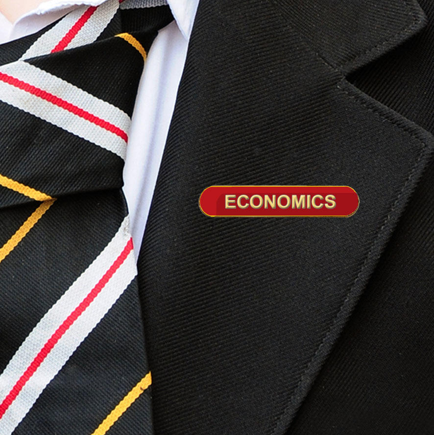 Red Bar Shaped Economics Badge