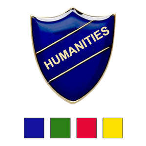 Coloured Shield Shaped Humanities Badges