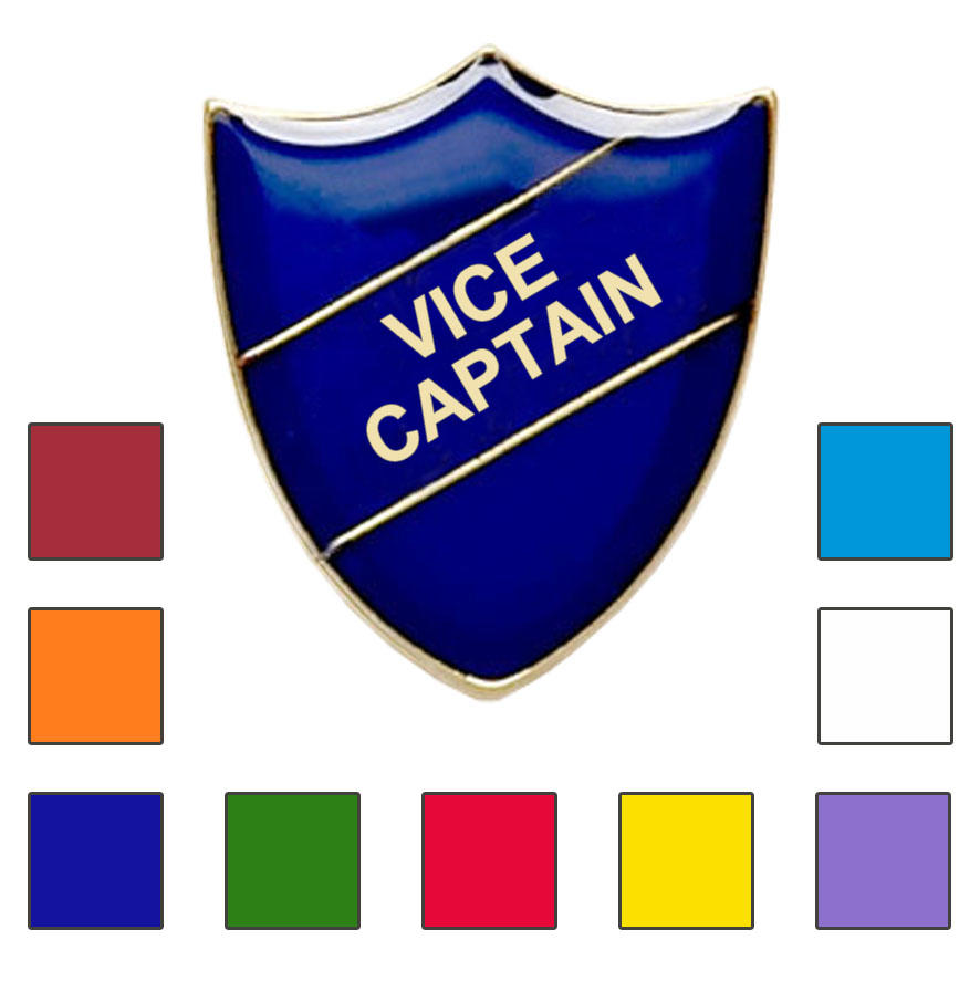 Coloured Shield Shaped Vice Captain Badges