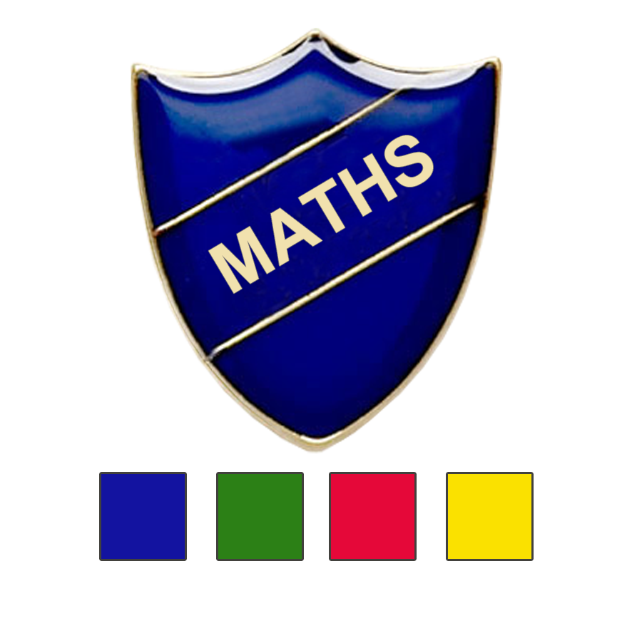 Coloured Shield Shaped Maths Badges