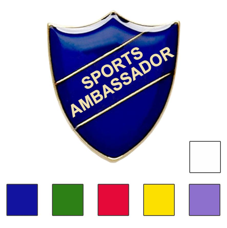 Coloured Shield Shaped Sports Ambassador Badges