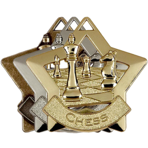 Gold, Silver, Bronze Star Shaped Chess Captain Badges