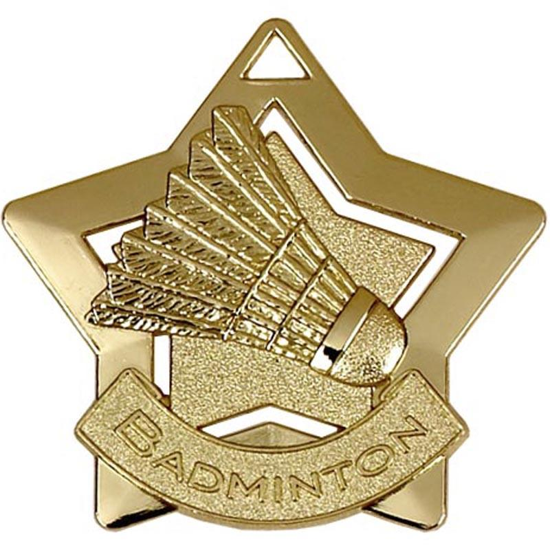 Gold Badminton Star Badge