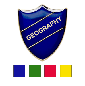 Coloured Shield Shaped Badges Geography Badges
