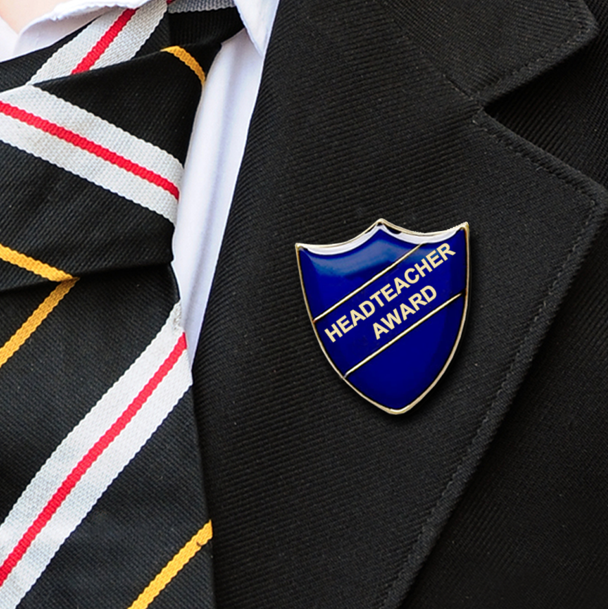 Headteacher award school badge blue