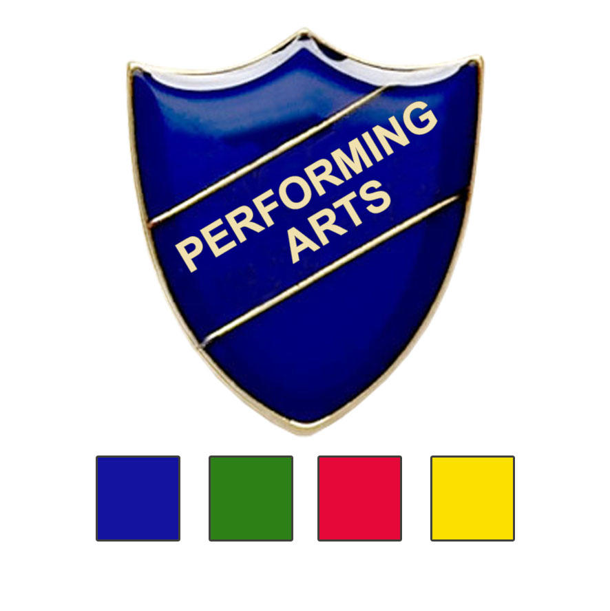 Coloured Shield Shaped Performing Arts Badges