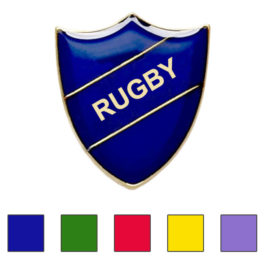 Coloured Shield Shaped Rugby Badges