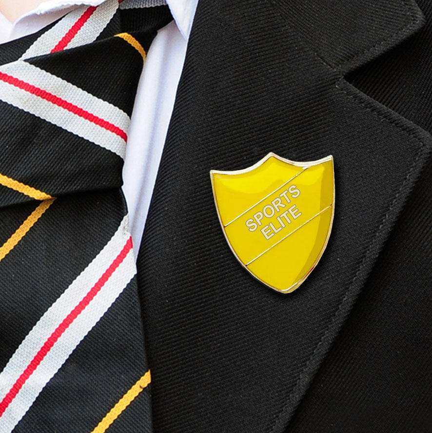 Yellow Shield Shaped Sports Elite Badge