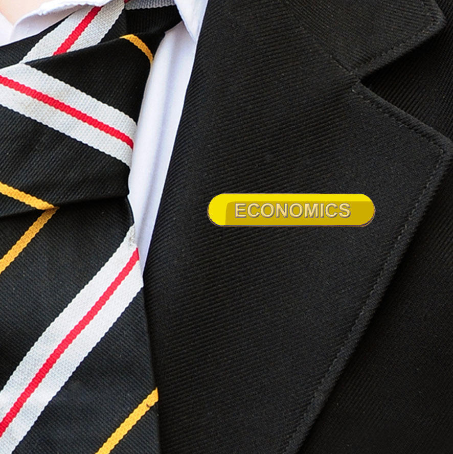 Yellow Bar Shaped Economics Badge