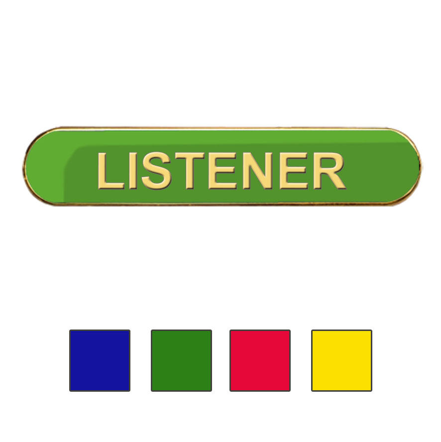 Coloured Bar Shaped Listener Badges