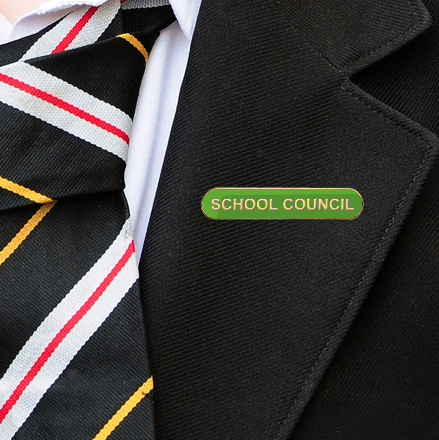 Green Bar Shaped School Council Badge