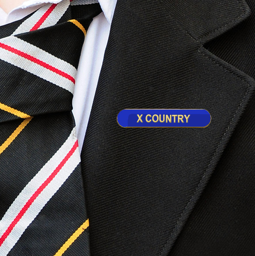 Blue Bar Shaped X Country Badge