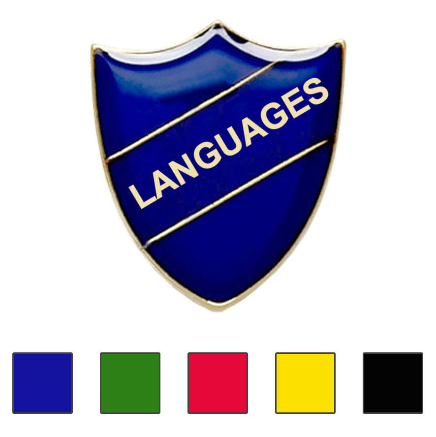 Coloured Shield Shaped Languages Badges