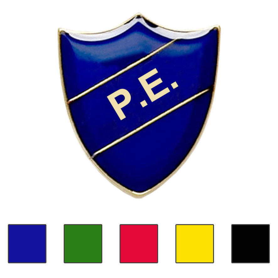 Coloured Shield Shaped P.E. Badges