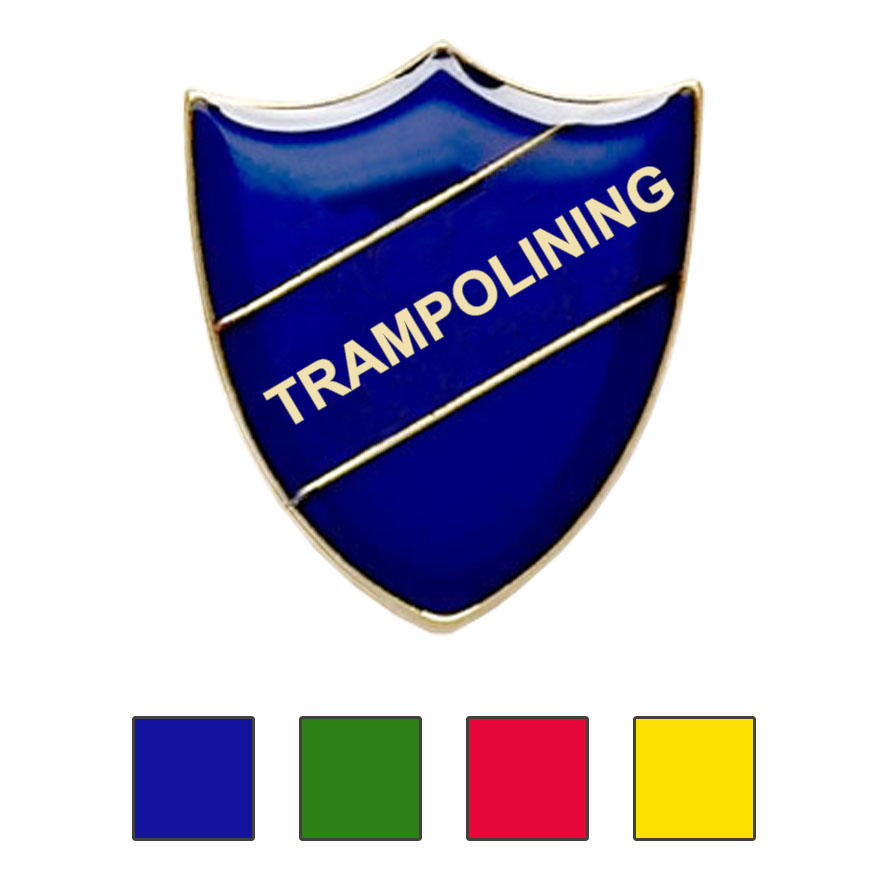 Coloured Shield Shaped Trampolining Badges