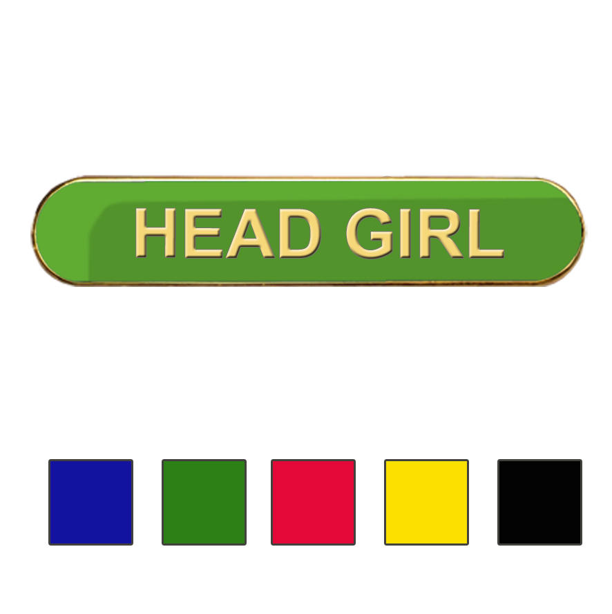 Coloured Bar Shaped Head Girl Badges