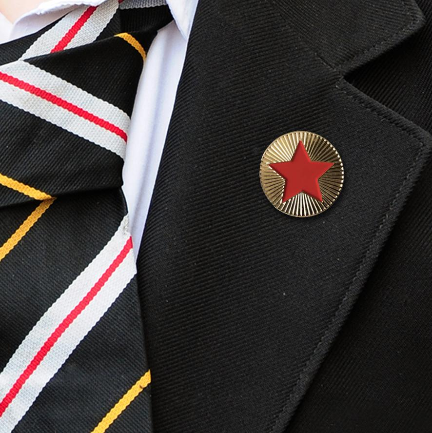 Gold & Red Round Badge