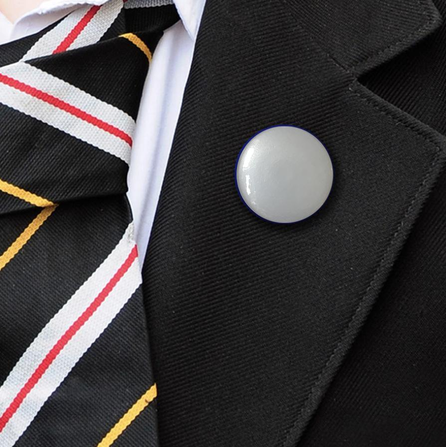 metallic plastic button badge silver