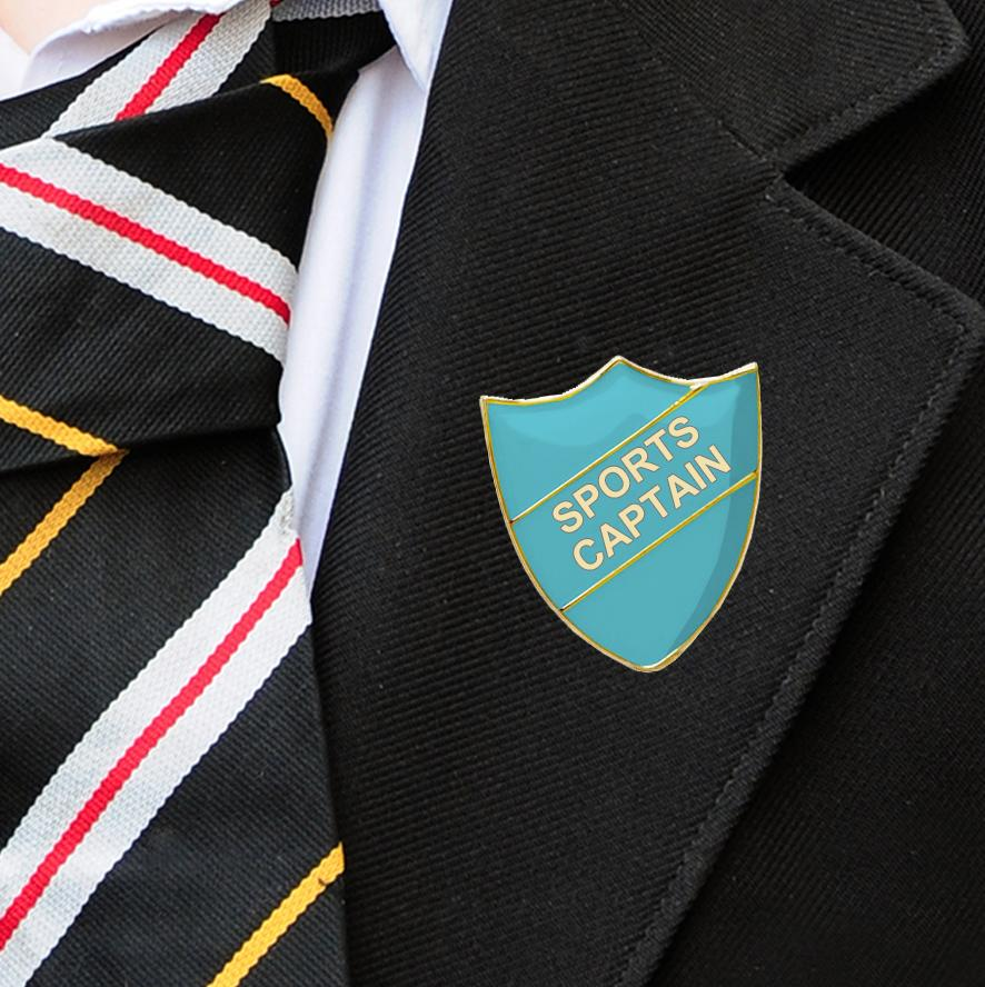 Light Blue Shield Shaped Sports Captain Badge