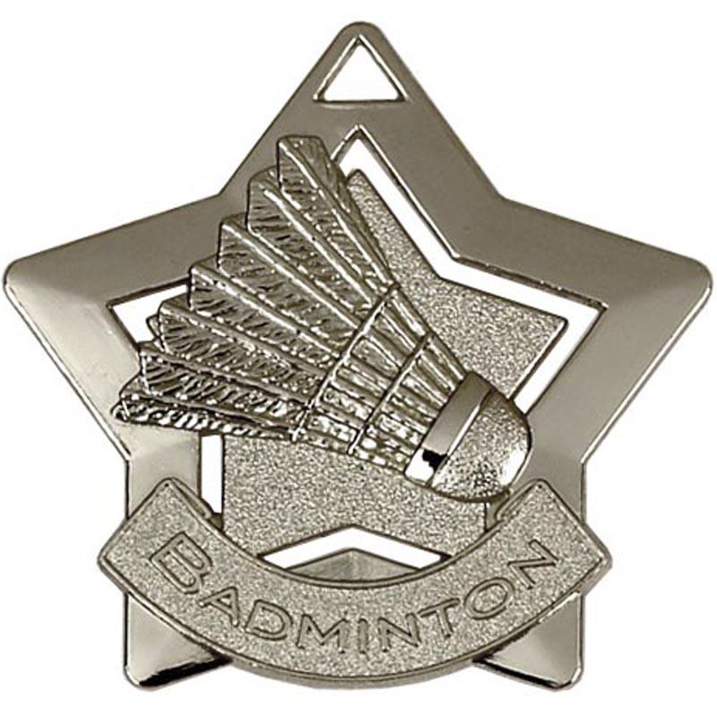 Silver Badminton Star Badge