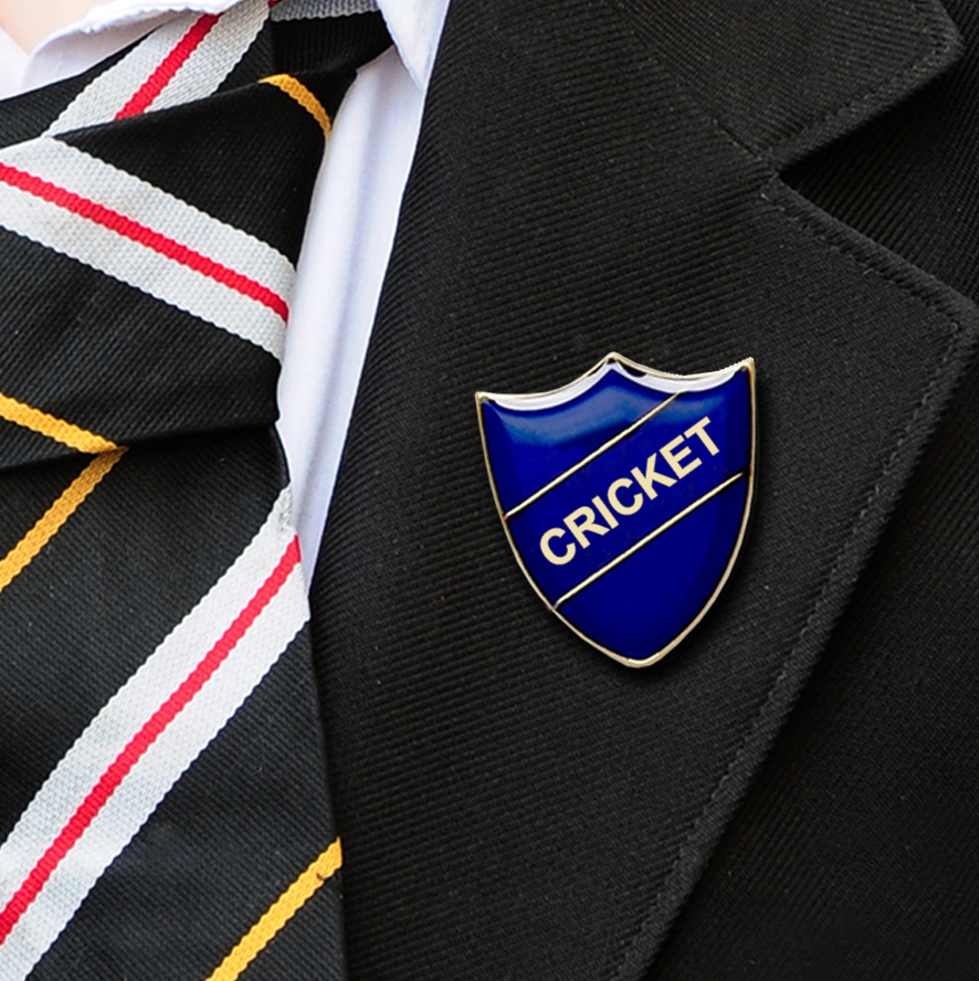 Cricket School Badges shield blue