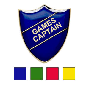 Coloured Shield Shaped Badges Games Captain Badges