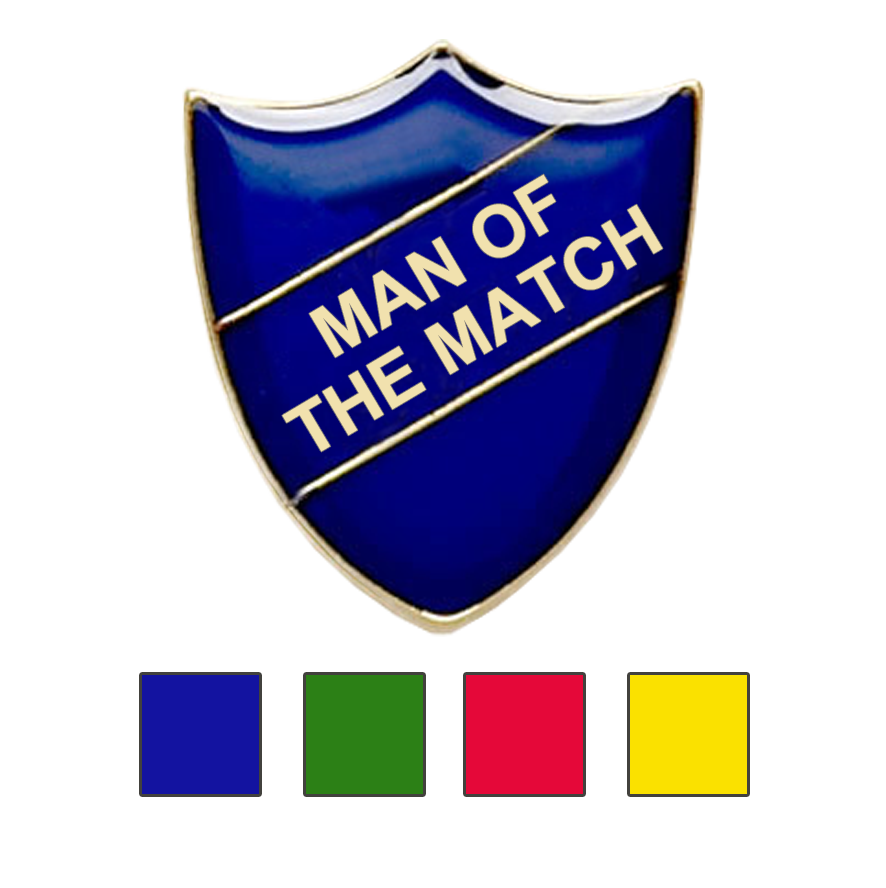 MAN OF THE MATCH SHIELD BADGE