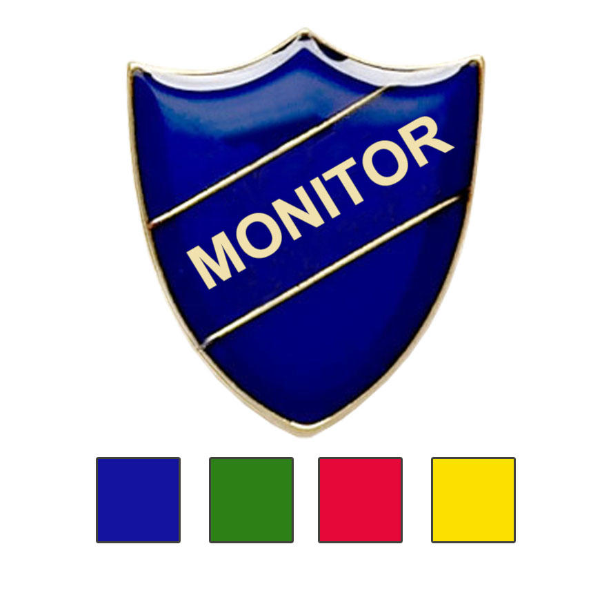 Coloured Shield Shaped Monitor Badges