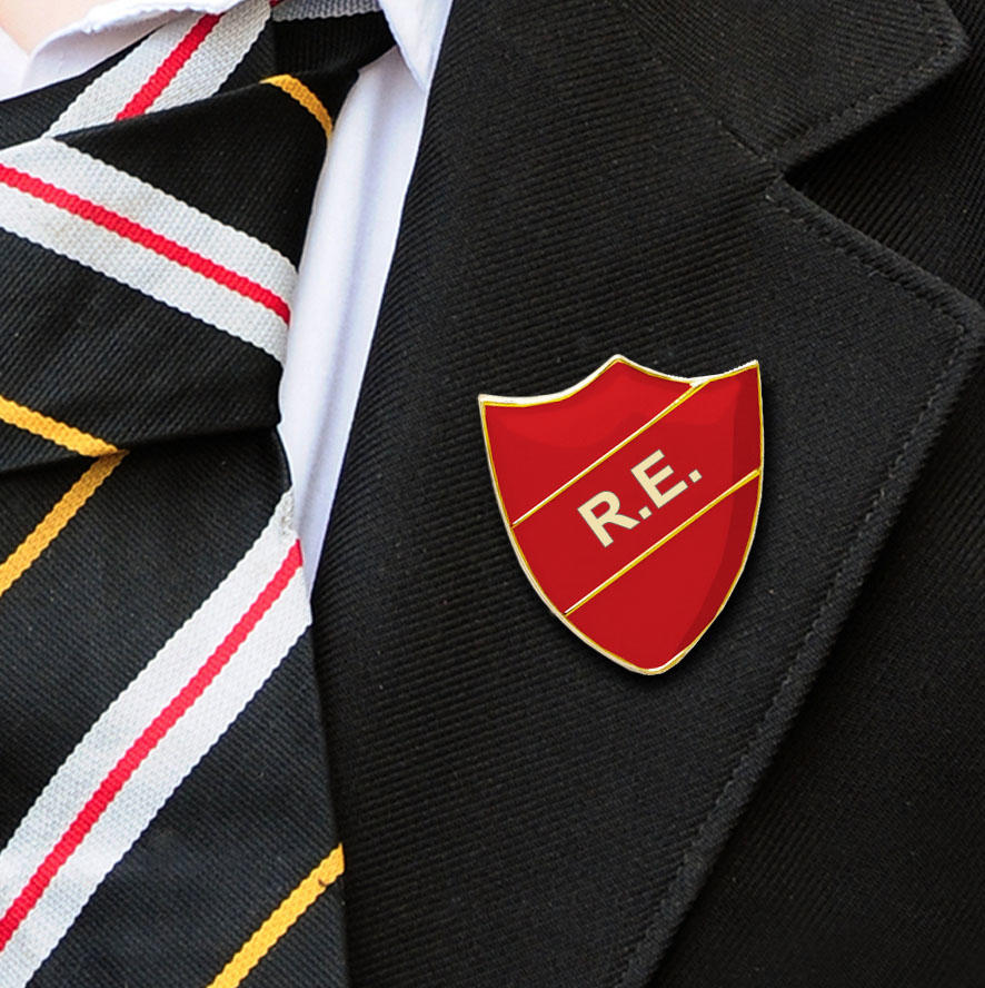 Red Shield Shaped R.E. Badge