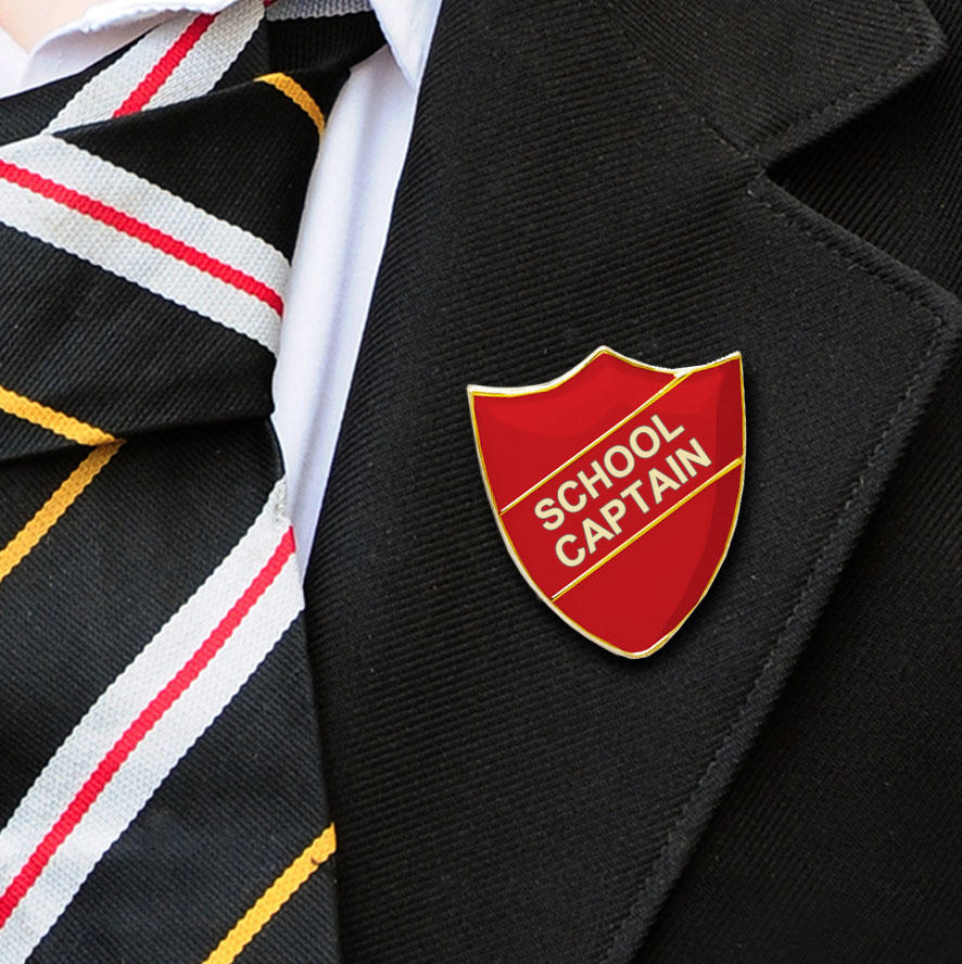 Red Shield Shaped School Captain Badge